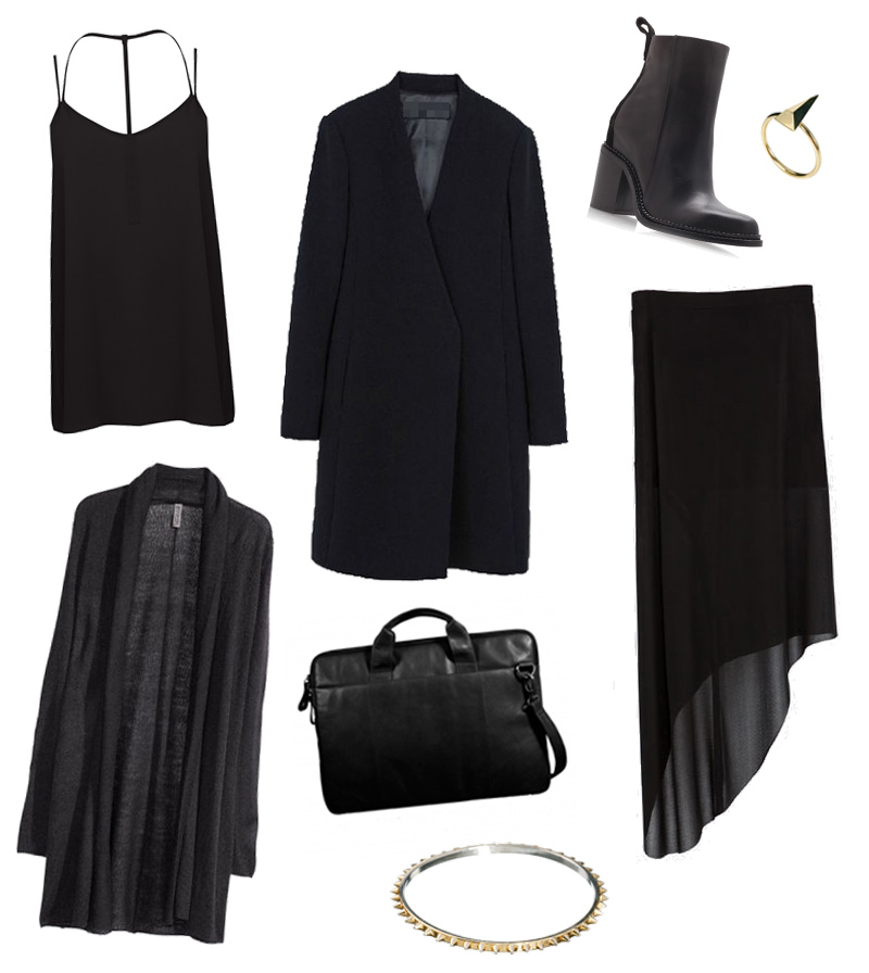 FAIIINT Simplicty wishlist - Warehouse Cami, Choies clean slim coat, Kurt Geiger Boots, H&M drape cardigan, Teals Boutique leather laptop bag, Zara asymmetric skirt, Whistles ring, Maria Francesca Pepe spike bangle. All black, minimal, clean, sharp, simple.