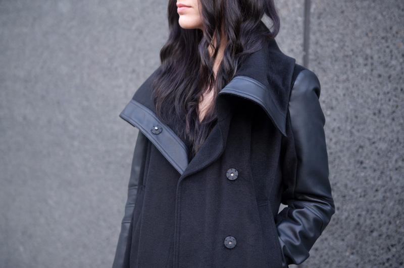 Fashion blogger Stephanie of FAIIINT wearing Next faux leather & black wool big wrap collar coat.