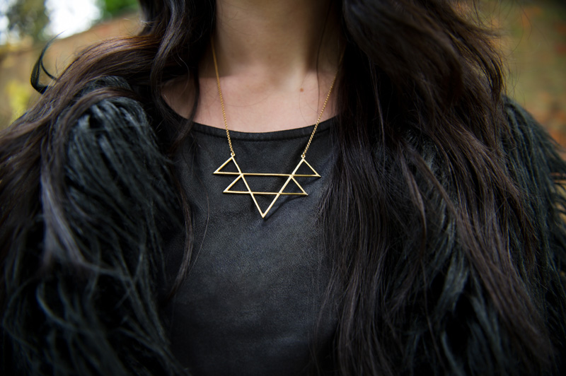 Fashion blogger Stephanie of FAIIINT wearing Lookbook Store faux fur black longhaired coat, H&M leather look tee, RockLove sacred geometry geo necklace