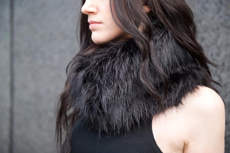 Fashion blogger Stephanie of FAIIINT wearing custom handmade maxi skirt & faux fur snood. Gothic, dark fashion, street style.