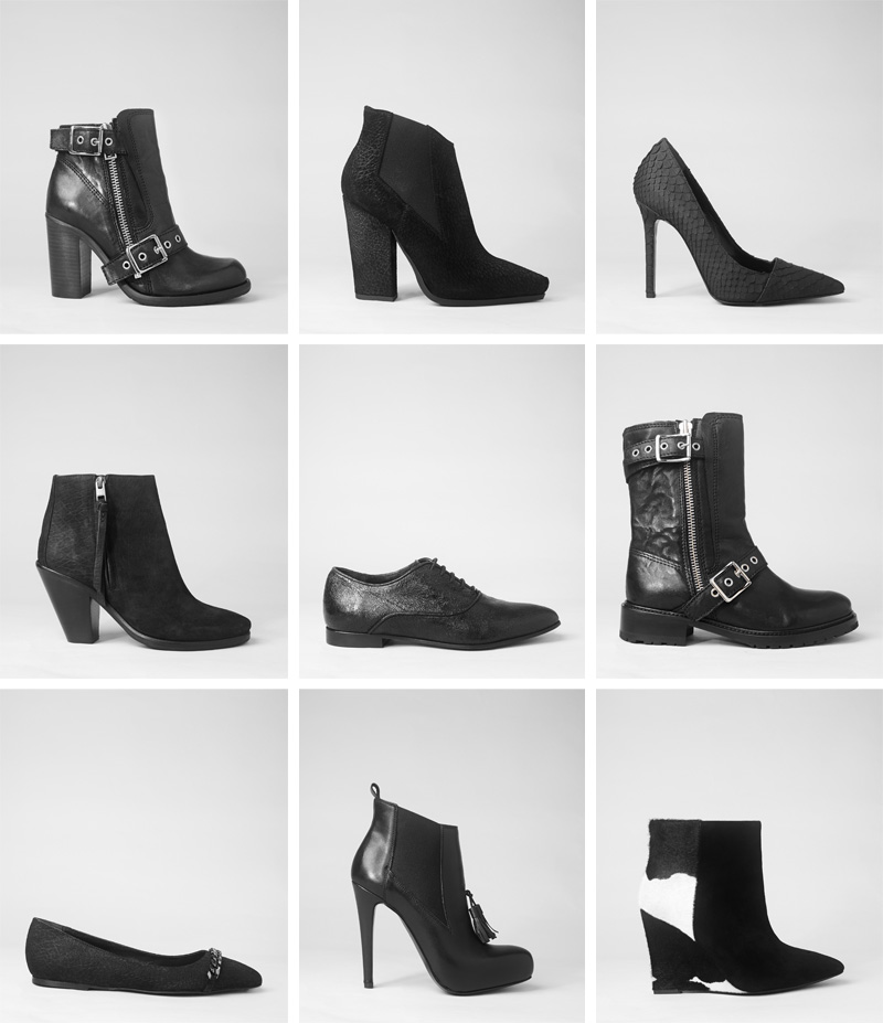 Allsaints Below The Knee Black Leather Boots Lookbook Collection