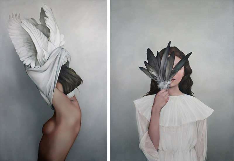 Amy Judd Artist Oil Paintings, surrealism, birds, wings, feathers, women, nude, faceless portraits.
