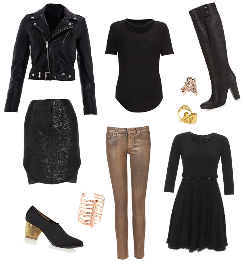 FAIIINT wishlist, black & gold. BLK DNM leather jacket, Paige Denim gold jeans, Carven textured skirt, Bjorg Spine Cuff, Pamela Love arrowhead ring, 3.1 Philip Lim knee high boots, Priory of Ten tee, Estelle Dévé gold rings, Felder Felder lily fluff dress, Zoe Lee boots