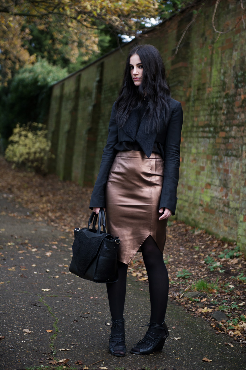 Fashion blogger Stephanie of FAIIINT wearing Todd Lynn x Topshop jacket, Heart by Nana Judy chiffon shirt, Poppy Lux bronze metallic pencil skirt, Finsk laced wedges, Bracher Emden classic bag