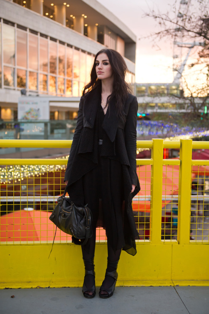 Fashion blogger Stephanie of FAIIINT wearing Todd Lynn for Topshop Cropped Tux Jacket with fur collar, ASOS waterfall draped cardigan, Warehouse chiffon dress, Rick Owens Wedges, Balenciaga City Bag. All black outfit, london, tourist, eye, dark style, goth.
