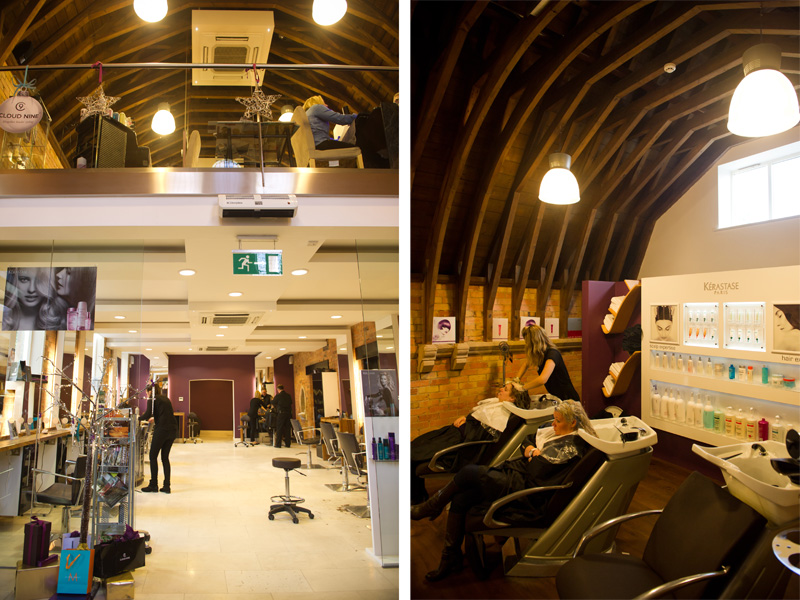 FAIIINT Creme Hair & Beauty Salon Oakham Leicestershire, converted Church building, hairdressers, beam ceiling