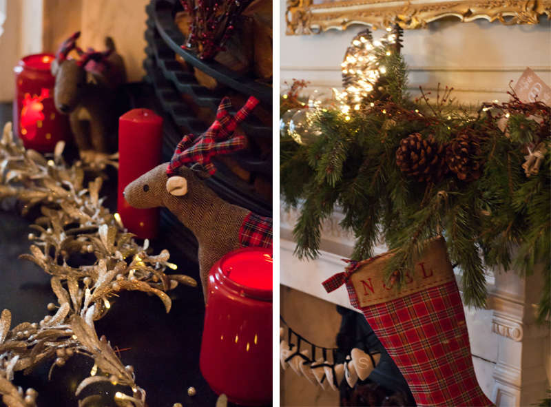 Next Christmas fashion blogger afternoon tea at Browns Hotel London decorations, stocking & wreath over fireplace, reindeer tartan, candles