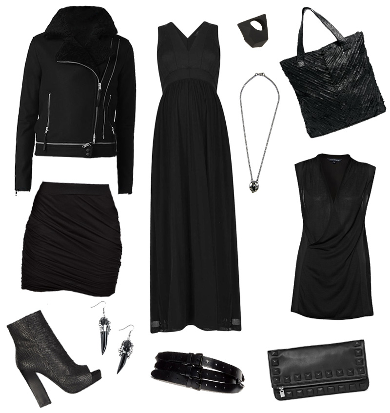 FAIIINT sale wishlist, Allsaints wool biker, Topshop Maxi, Marc by Marc Jacobs rock ring, Pieces leather tote, French Connection jersey wrap top, studded leather clutch, Ann Demeulemeester triple belt, Maria Lau earrings, Just Female drape skirt, Estelle Deve necklace. All black.
