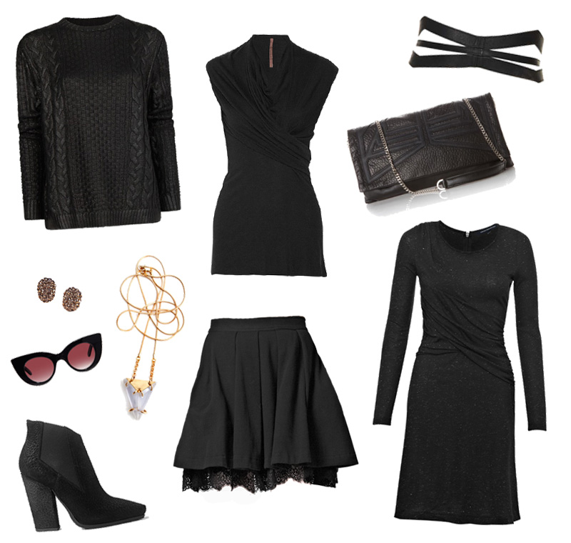 FAIIINT wishlist, Mango coated sweater, Rick Owens drape top, Topshop corset belt, Bracher Emden Lucy clutch, MinkPink night cat sunglasses, French Connection lace skirt & drape twist jersey dress, Allsaints Keiko chelsea boots, EA Burns origins necklace