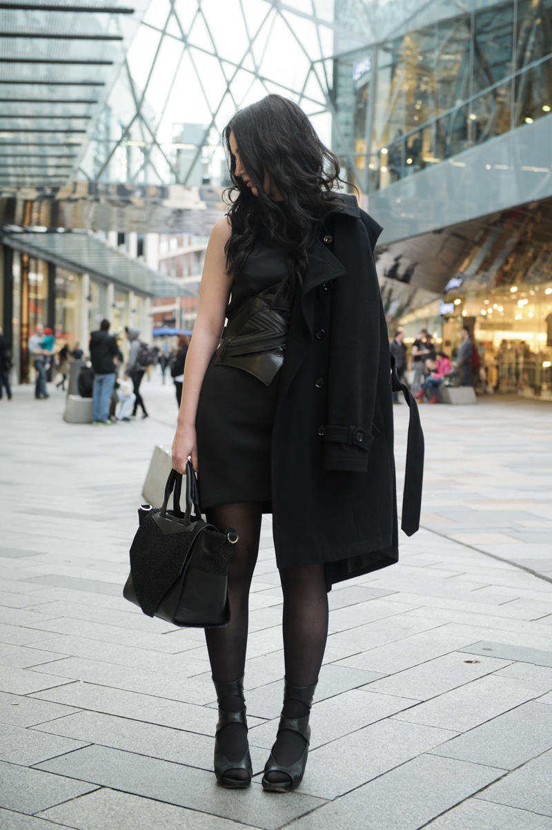 Fashion blogger Stephanie of FAIIINT wearing Topshop wool trench coat, Warehouse scuba neoprene shift dress, Bracher Emden for Jean Pierre Braganza belt, Rick Owens Wedges, Bracher Emden classic tote bag. All black outfit street style, goth sci fi.