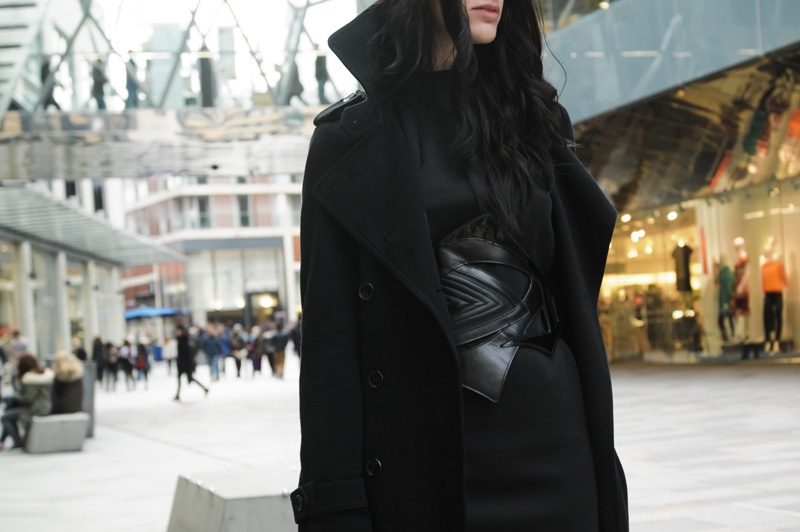Fashion blogger Stephanie of FAIIINT wearing Topshop wool trench coat, Warehouse scuba neoprene shift dress, Bracher Emden for Jean Pierre Braganza belt. All black outfit street style, goth sci fi.