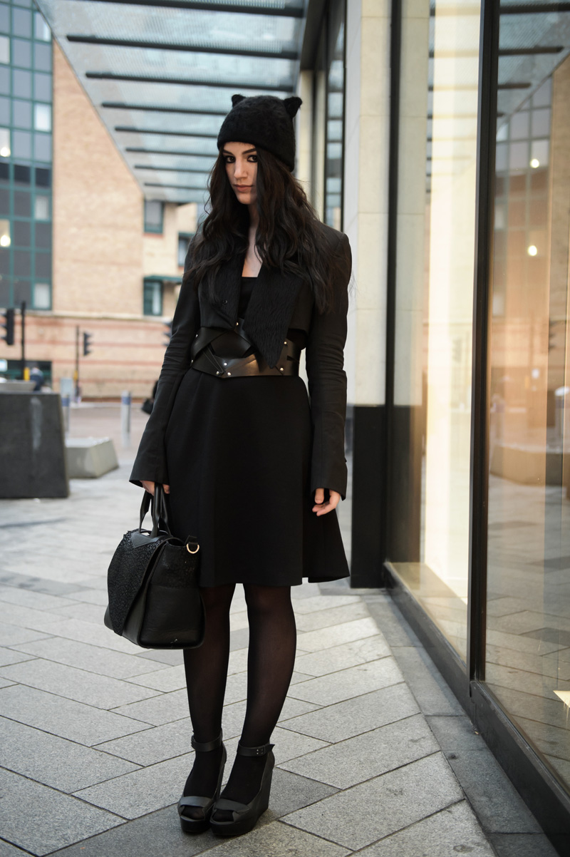 Fashion blogger Stephanie of FAIIINT wearing Next cat ear beanie hat, Todd Lynn for Topshop Cropped Tux Jacket, Joseph Wool Dress, COS Belt, Skin by Finsk Wedge Sandals, Bracher Emden Classic bag, Jana Reinhardt key necklace. All black gothic cute street style outfit.