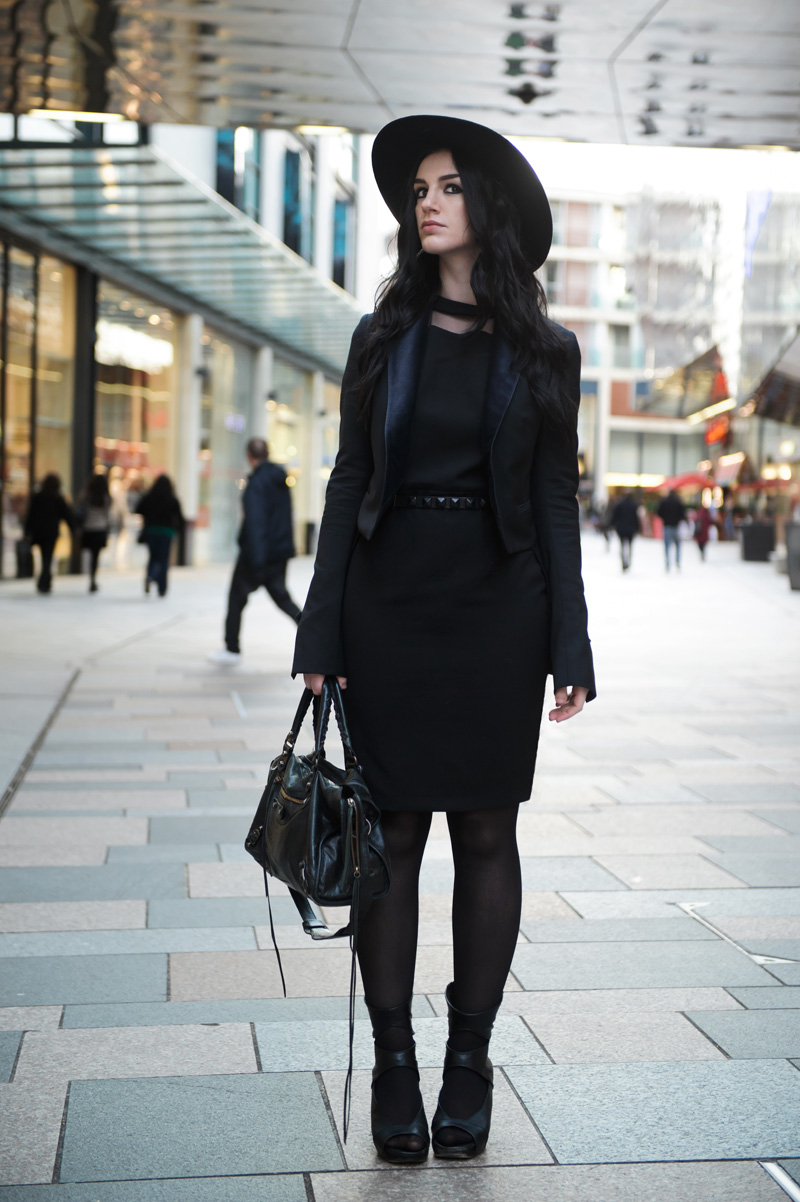 Fashion blogger Stephanie of FAIIINT wearing Catarzi fedora, Paper Dolls mesh panel dress, Topshop studded belt, Rick Owens wedges, Todd Lynn for Topshop fitted tux jacket blazer, Balenciaga city bag. All black outfit, gothic street style.