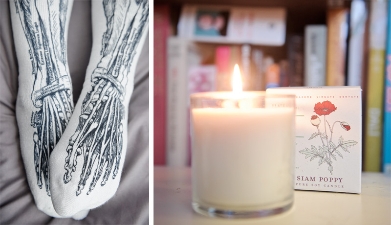FAIIINT UncommonGoods Sole Sox anatomy socks, bones, muscles, Kobo plant the packaging Siam Poppy soy candle