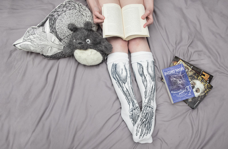 FAIIINT UncommonGoods lounging around in bed with Sole Sox anatomy socks, The Rise & Fall Sleeping Fox Pillow, Kobo plant the packaging siam poppy candle, Totoro plush & books.