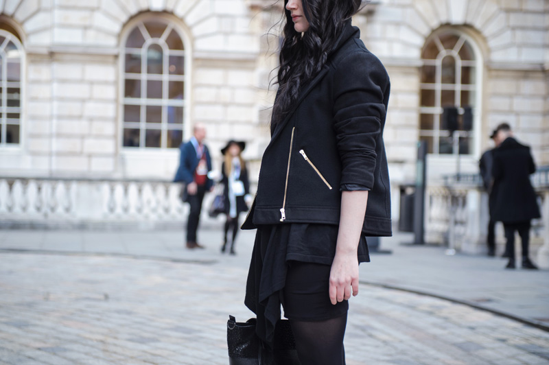 Fashion blogger Stephanie of FAIIINT wearing George at asda black wool & twill biker jacket, basic bodycon dress, ASOS waterfall cardigan, Kurt Geiger wedge boots, Bracher Emden bag. London fashion weekend Somerset house.
