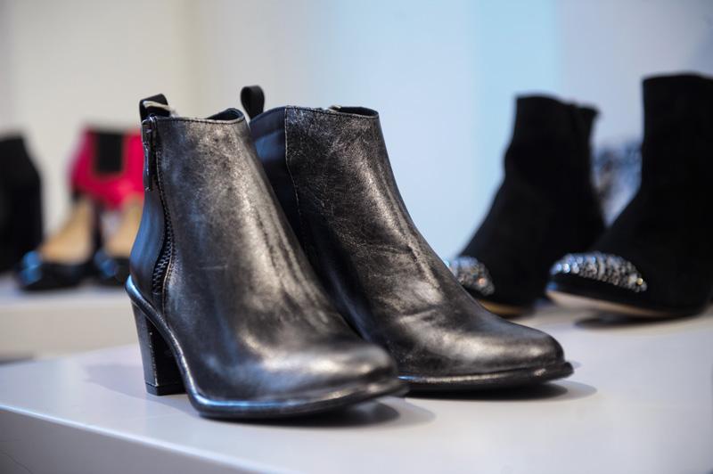 London fashion weekend designer shopping, Somerset House. Miista silver black metallic boots.