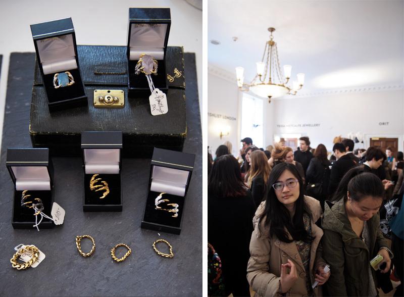 London fashion weekend designer shopping, Somerset House. Tessa Metcalfe bird claw jewellery, rings, gem stones, gold, silver.