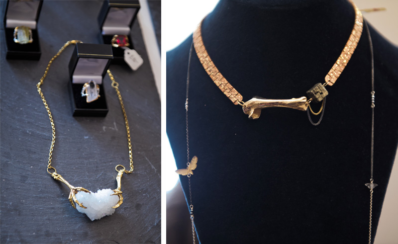 London fashion weekend designer shopping, Somerset House. Tessa Metcalfe bird claw necklace & rings, Thor & Whistle bone choker & butterfly necklace
