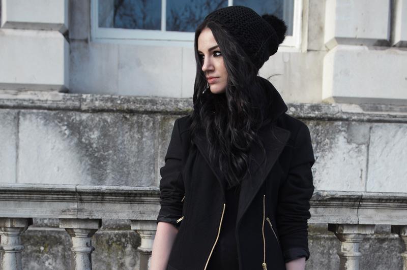 Fashion blogger Stephanie of FAIIINT wearing George at asda black wool & twill biker jacket, basic bodycon dress & faux fur pom pom beanie.