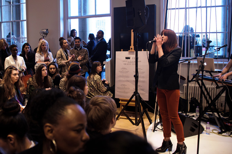 London fashion weekend designer shopping, Somerset House. Laura Welsh perfoms live for Levis Reveal Studio.