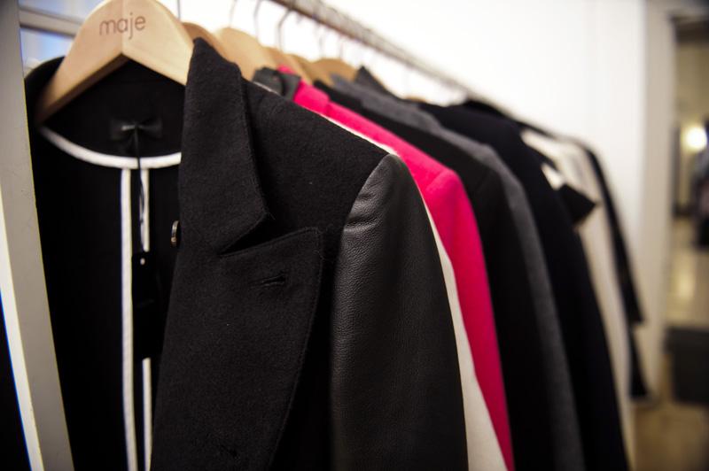 London fashion weekend designer shopping, Somerset House. Joseph jackets & coats.