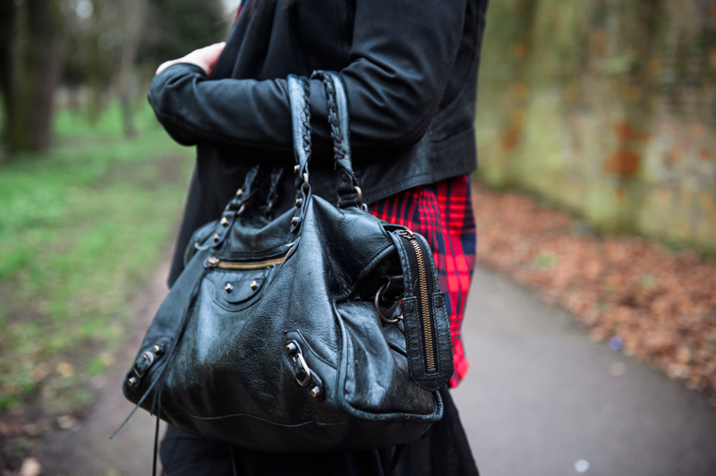 Black Barneys Originals draped leather jacket, Lookbook store red tartan plaid shirt, OASAP asymmetric chiffon dress, Balenciaga city. Details.