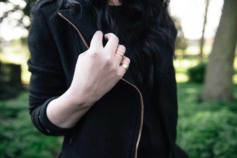 FAIIINT outfit details Minkpink wool biker jacket, Next rose gold stacking rings
