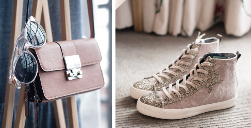 Next New In ss14 fashion blogger party press day party event. Lace & glitter sparkly trainers sneakers & taupe cross body bag.