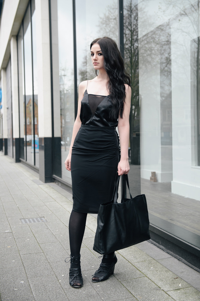 Fashion blogger Stephanie of FAIIINT wearing ASOS silky panelled cami, Mint Velvet silk rouched side zip pencil skirt, John Lewis leather classic tote bag, Skin by Finsk lace up wedges. All black sports luxe street style outfit.