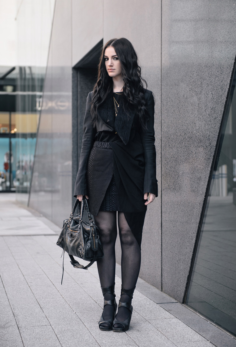 Fashion Blogger Stephanie of FAIIINT wearing Todd Lynn for Topshop Cropped Tux Jacket, OASAP Asymmetric Dress, Topshop Snake Texture Skirt, Rick Owens Wedges, Cinderela B Necklace, Balenciaga City Bag. Street style, all black draped outfit.