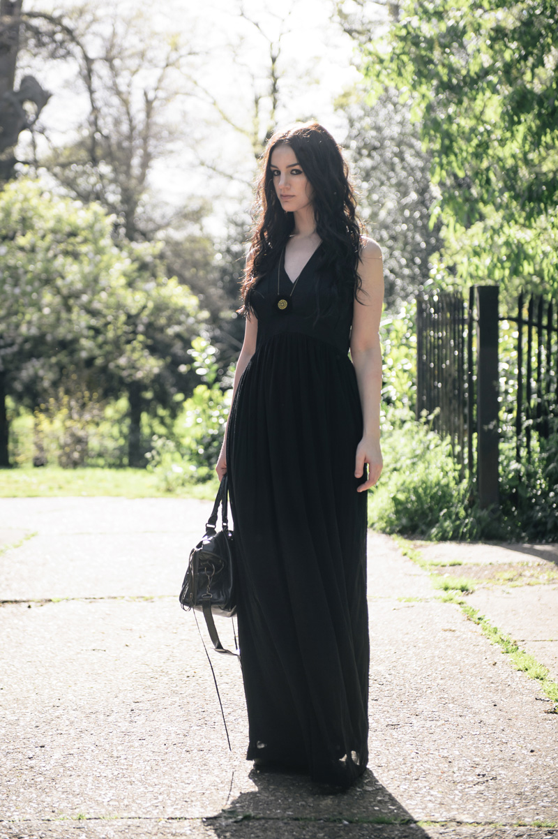 Fashion blogger Stephanie of FAIIINT wearing Topshop maxi panelled & mesh maxi dress, Belles Bejewelled perspex hexagon stitched gold thread necklace, Balenciaga city bag.