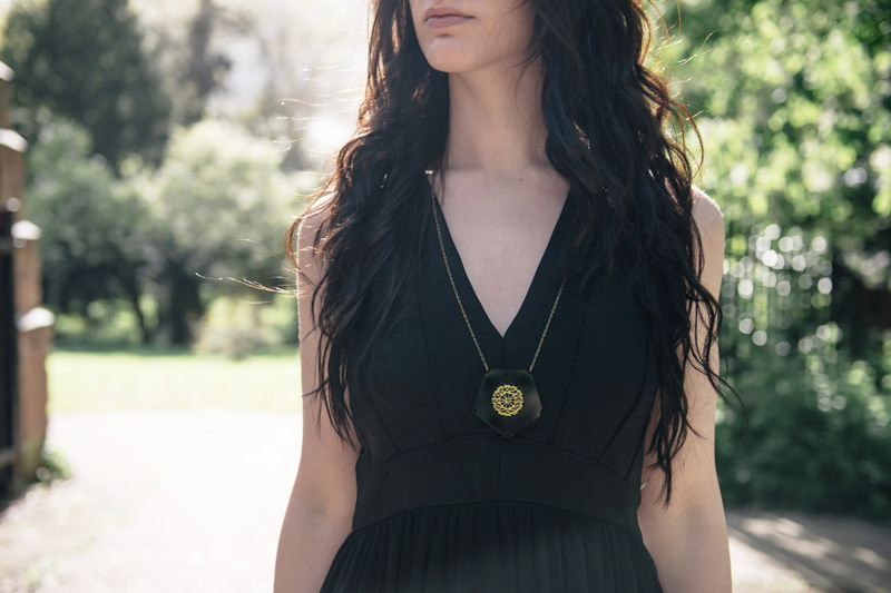 Fashion blogger Stephanie of FAIIINT wearing Topshop maxi panelled & mesh maxi dress, Belles Bejewelled perspex hexagon stitched gold thread necklace.