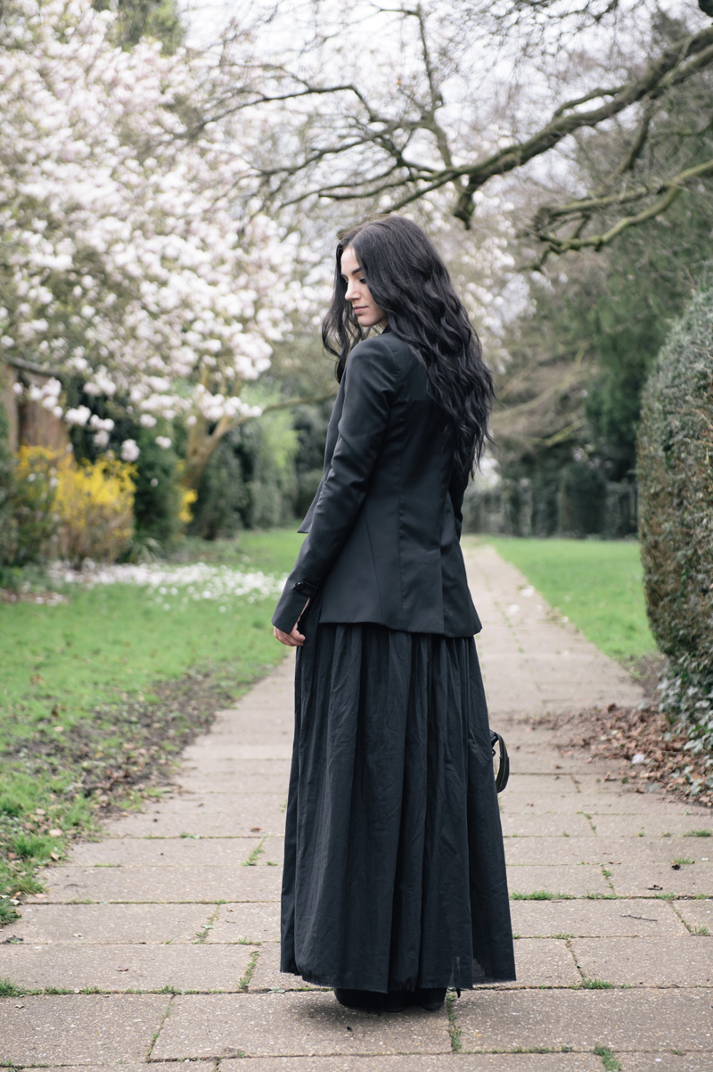 Fashion blogger Stephanie of FAIIINT wearing Todd Lynn for Topshop tux jacket, Reiss tank top, FAIIINT cotton lawn full maxi skirt, RockLove sacred geo collar necklace, Balenciaga city bag. All black floaty pretty gothic outfit.