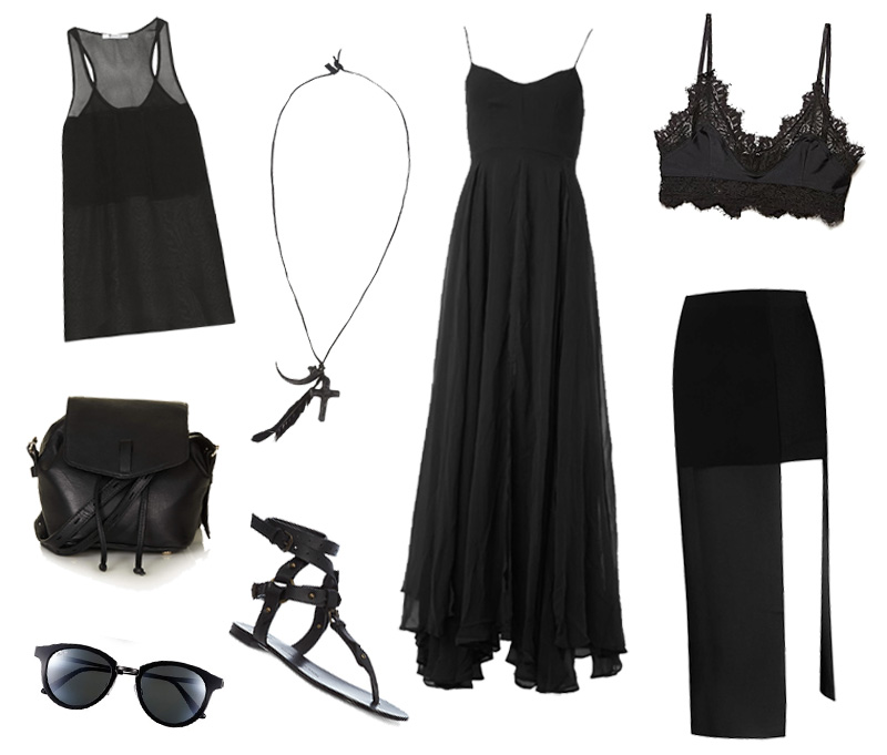 FAIIINT all black summer outfit wishlist Alexander Wang chiffon tank, Natalia Brilli leather necklace, Religion Olsen mazi dress, For Love & Lemons lace kitten bralet, Topshop pouch bag, Jovonna sheer skirt, Maui Jim Kolohe sunglasses, Giuseppe Zanotti gladiator sandals.