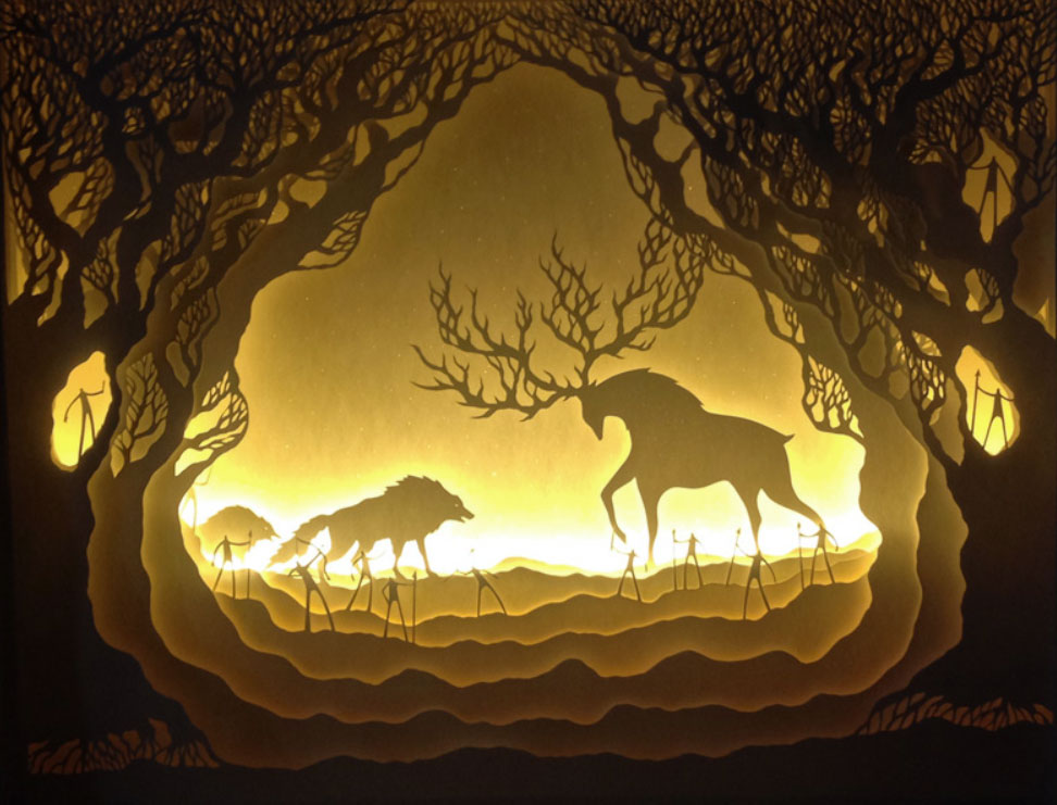Hari & Deepti paper cut shadow light boxes, wolves, forrest, deer & stag