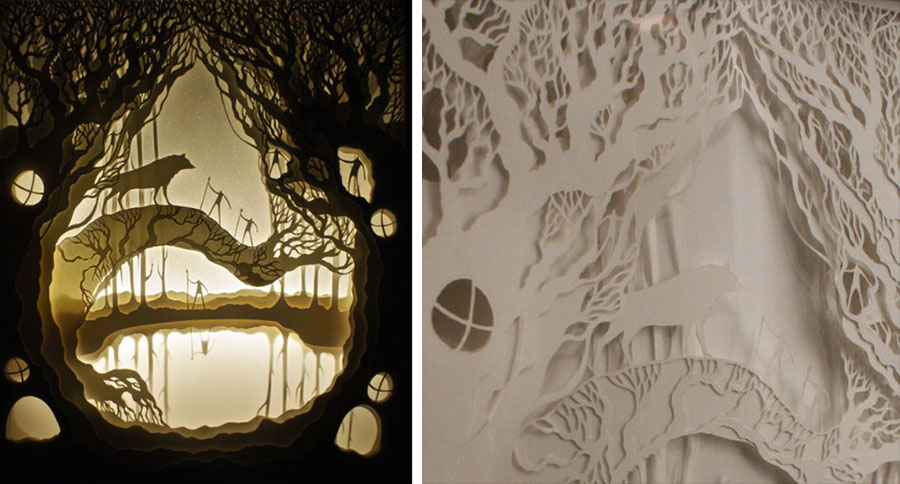 Hari & Deepti paper cut shadow light boxes, wolf, men, forrest.