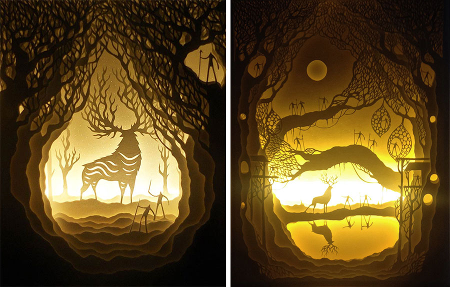 Hari & Deepti paper cut shadow light boxes, men, forrest, deer & stag