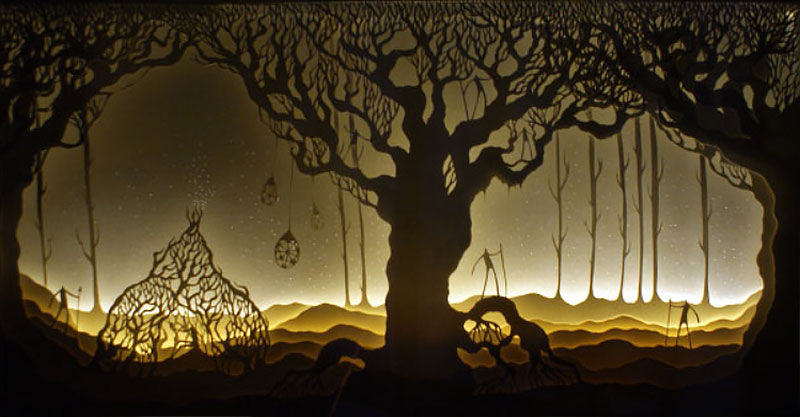 Hari & Deepti paper cut shadow light boxes, men, forrest, tree of life.