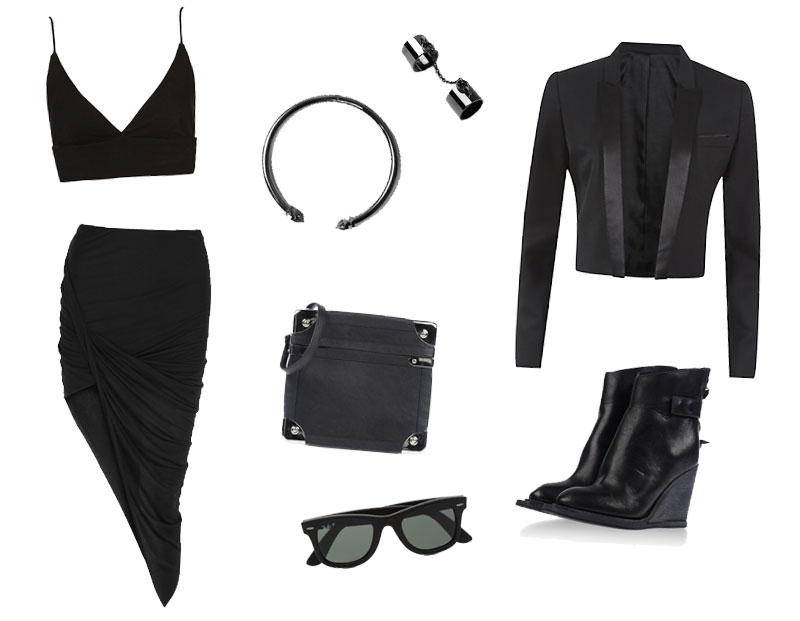 FAIIINT Wishlist Topshop bralet, Allsaints choker & chain double rings, The Kooples cropped jacket, Helmut Lang draped skirt, Margiela Box bag, Nicolas Andreas Taralis boots, leather Ray-Ban wayfarers