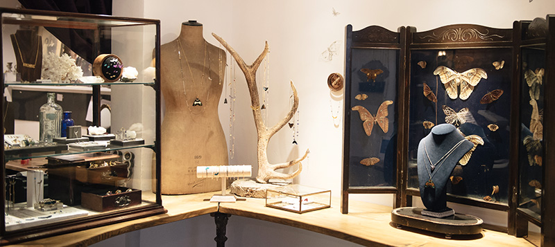 Thor & Wistle London store Dynasty Jewellery Kamilla Thorsen Rachel Entwistle butterfly, antler, mannequin display cabinets