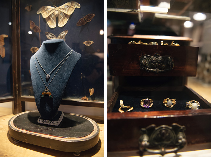 Thor & Wistle London jewellery store Dynasty Jewellery Monarch butterfly necklace & Tessa Metcalfe bird claw rings