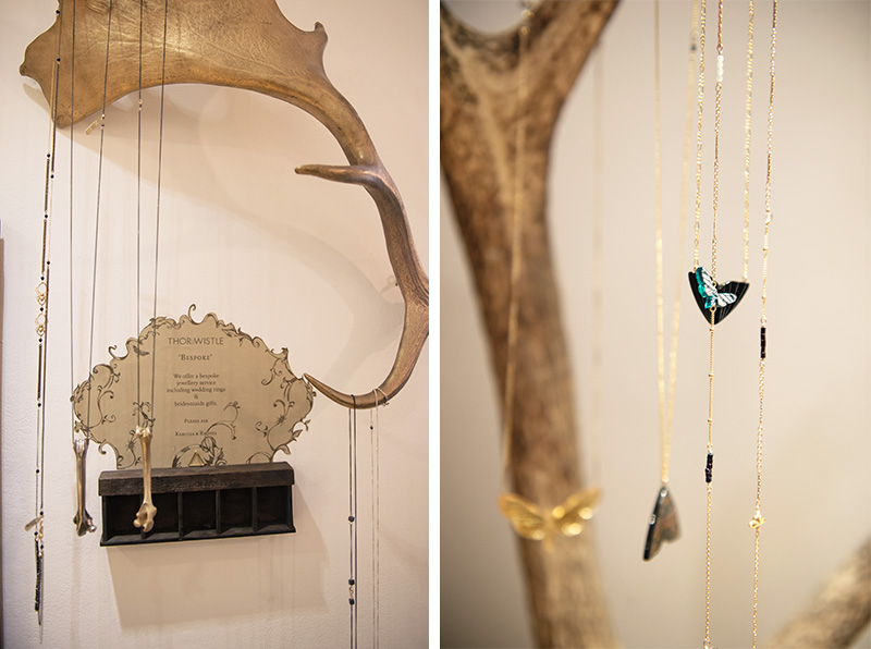 Thor & Wistle London store Dynasty Jewellery moth & butterfly necklaces Rachel Entwistle gold & silver bone pendants