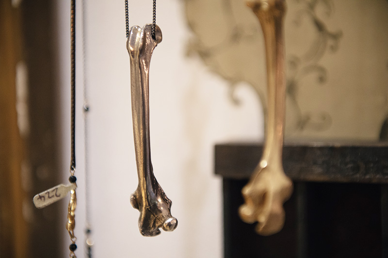 Thor & Wistle London jewellery store Rachel Entwistle gold & silver anatomical memento mori bone pendants
