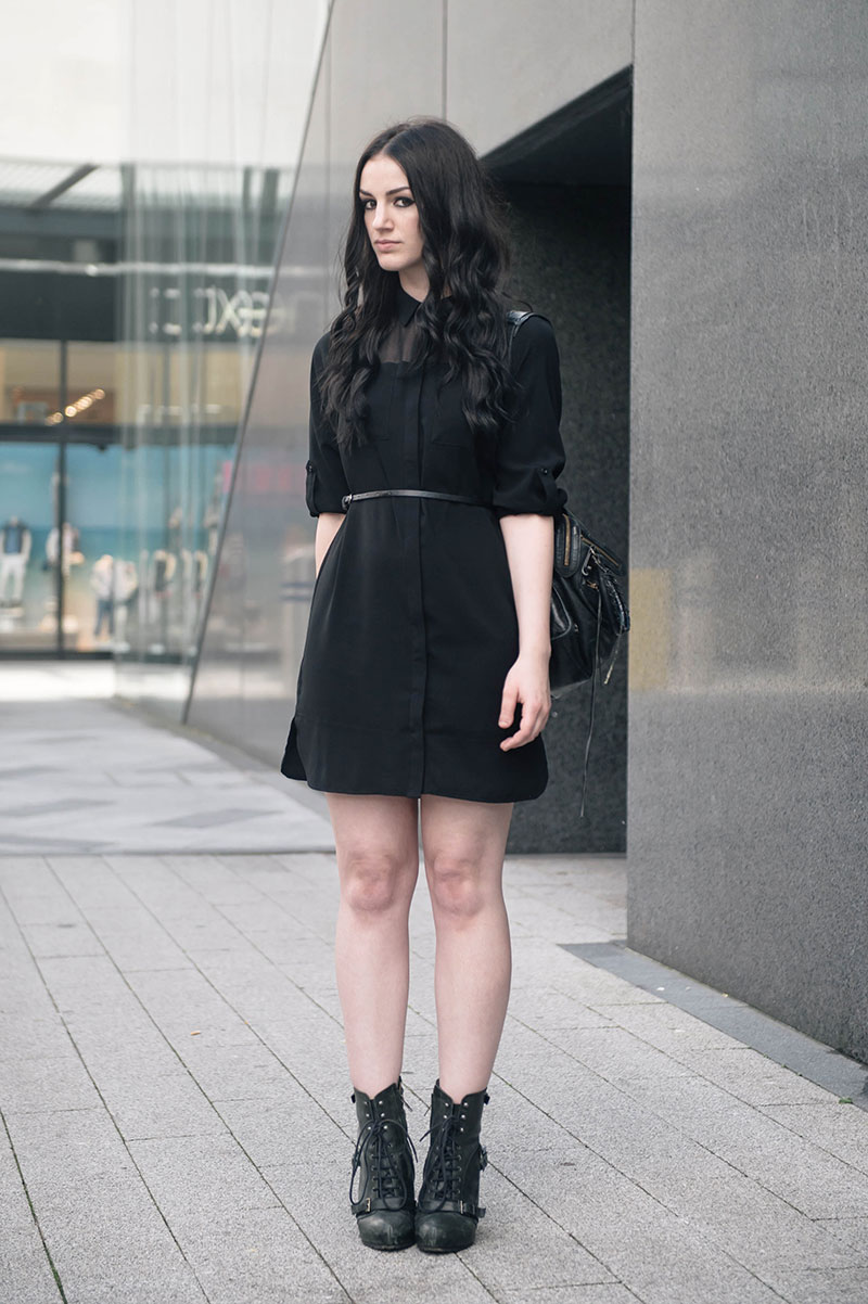 Fashion blogger Stephanie of FAIIINT wearing Dorothy Perkins Military shirt dress with chiffon panel, ASOS Belt, Topshop lace up boots, Balenciaga City. All black outfit goth street style.