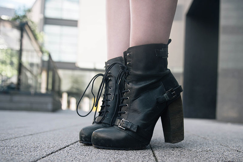 FAIIINT Topshop Boutique lace up leather black boots shoes