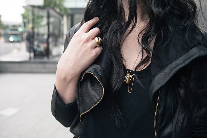Fashion blogger Stephanie of FAIIINT wearing FAIIINT cropped leather jacket, Helmut Lang tee, Kasun gold & onyx vampire heart necklace & claw ring