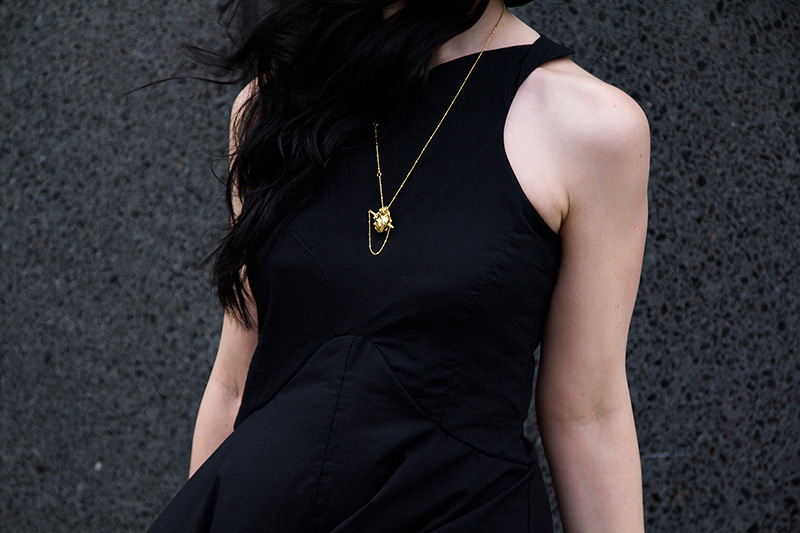 Fashion Blogger Stephanie of FAIIINT shot by Rosemary Pitts of Creatures Blog wearing FAIIINT asymmetric dress, Kasun London gold vampire heart & dagger necklace.