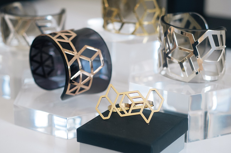 London Fashion Week Spring Summer 2015 Designer Showrooms Somerset House Anna Byers Geometric Gold, Silver & Perspex cuffs
