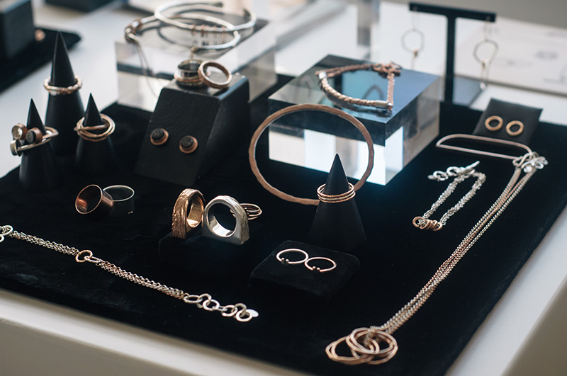 London Fashion Week Spring Summer 2015 Designer Showrooms Somerset House Maya Magal silver & rose gold rings, necklaces, bracelets, jewellery display